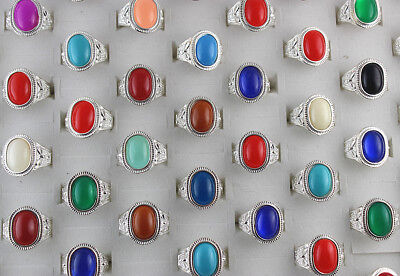 50pcs Wholesale Mixed Lots Colorful Oval Resin Unisex Rings Charm Jewelry