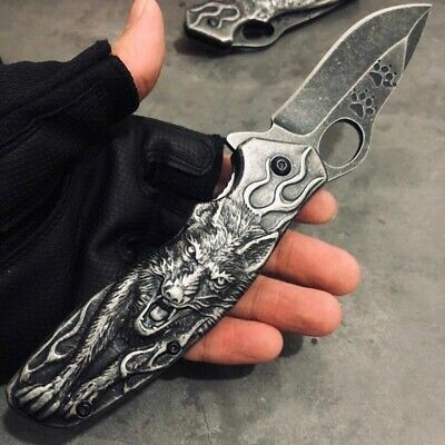 Folding 3D Wolf Knife Camping Knife Stone Wash Knife Wolf Pocket Hunting Knife