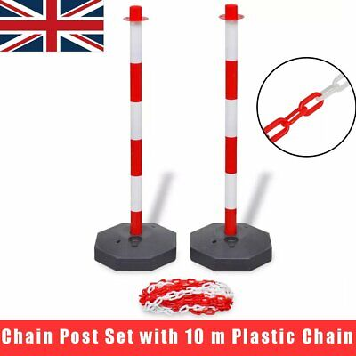 Chain Security Bollards Post Guard Barrier Set Kit + 10m Plastic Chain Traffic