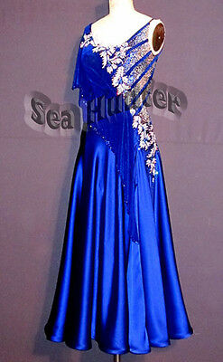 B3349 Ballroom Smooth Standard Waltz Quickstep Uk 6 Dance Dress Blue Competition