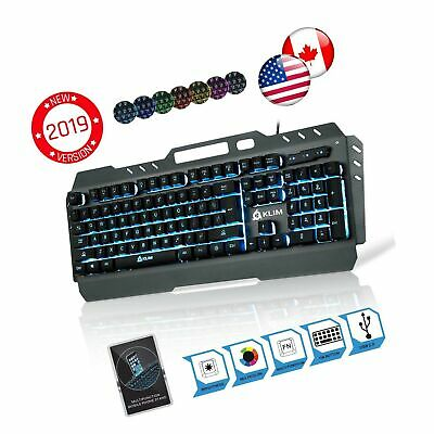 b8e7cada689 KLIM Lightning Gaming Keyboard - Semi Mechanical - Led 7 Colors Light Up,  Met.