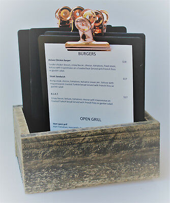 Set 4 x A5 Black Timber Board + rose gold bulldog clip in a cutlery box