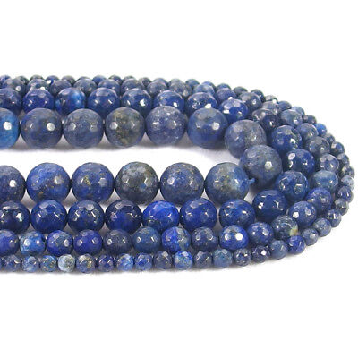 Natural Lapis Stone Faceted Round Spacer Beads 15.5'' 4mm 6mm 8mm 10mm