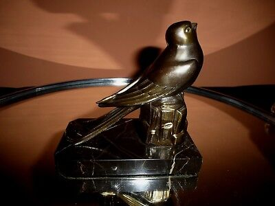 French Art Deco Spelter Swallow On Marble Base.
