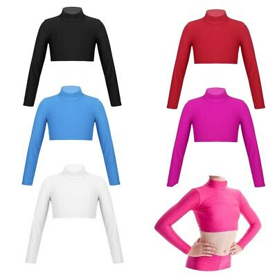 Girls Dance Crop Top Turtle Neck Gymnastics Plain Neck Long Sleeve Leotard Top