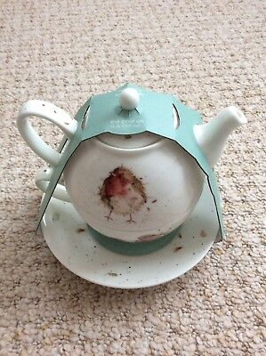 Royal Worcester Wrendale by Hannah Dale Tea for One - Teapot Cup & Saucer Robin