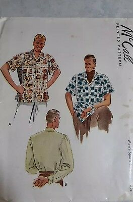 NEW 1940s McCall Vintage Sewing Pattern MEN'S SHIRT 7499 Medium 15/ 15.5 NEW
