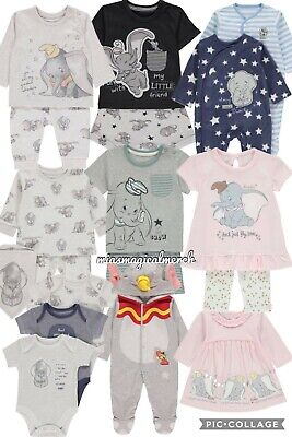 Brand New Baby's Disney DUMBO Clothing Jogger Set Baby Grow 7 To Choose From