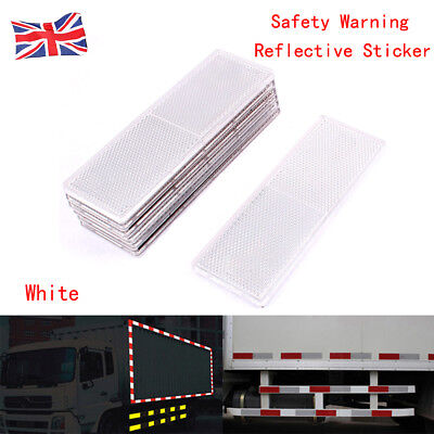 2x 150x50mm Self Adhesive Oblong Rectangular Trailer Caravan Reflectors White