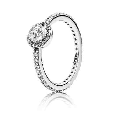 Authentic 925 Sterling Silver Pandora Ring Classic Elegance With Crystal Rings