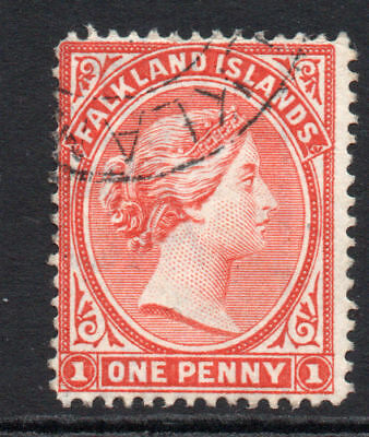 Falkland Islands 1 Penny Venetian Red Stamp c1891-02 Used (1445)