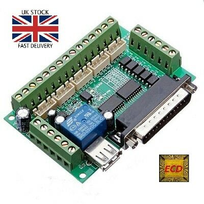 Breakout Board 5 Axis MACH3 CNC Interface for Stepper Motor Driver UK STOCK