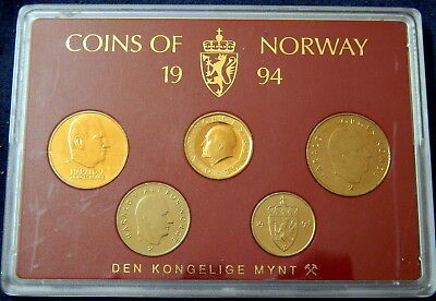 1994 Coins of Norway Norwegian Set Den Kongelige Mynt UNC