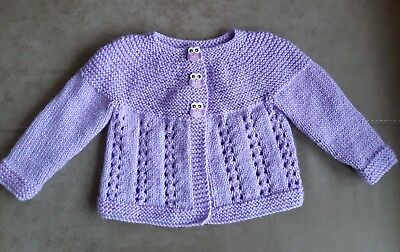 Brand new, hand knitted baby cardigan, lavender, age 9 months