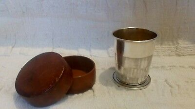 Fine Antique Asprey Silver Plate Cased Shooting hunting Collapsible Stirrup Cup