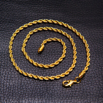 5mm Men Womens 316L Stainless Steel Gold Twist Curb Link Chain Necklace Gift