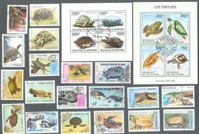 Tortoises & Turtles on stamps collection 25 all different