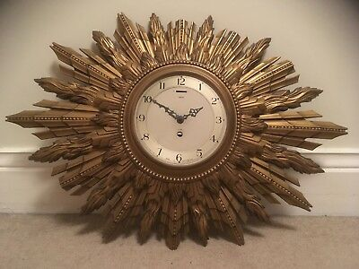 Art Deco SUNBURST Gilt SMITHS SECTRONIC Wall Clock 1930s style BATTERY OPERATED