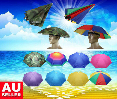 Sun Umbrella Hat UV Protection Foldable Golf Fishing Camping Headwear Caps AU
