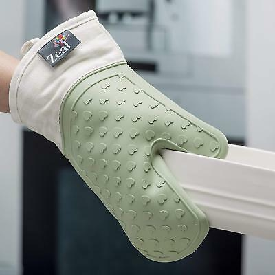 Zeal Silicone Heavy Duty Single Kitchen Waterproof Oven Mitt Glove - Sage Green