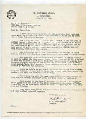 Southwest Museum Los Angeles CA 1/22/1947 Letter to J G Braecklein Kansas City