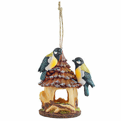 Garden Bird House Nesting Box Rustic Hanging Resin with Blue Tits