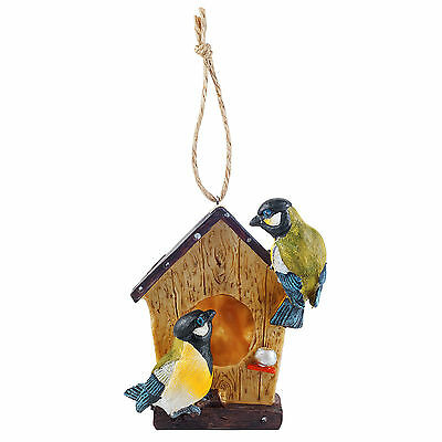 Ornamental Garden Bird Box Hanging Bird House Nesting Box Resin with Blue Tits