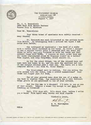 Southwest Museum Los Angeles CA 8/7/1947 Letter to J G Braecklein Kansas City