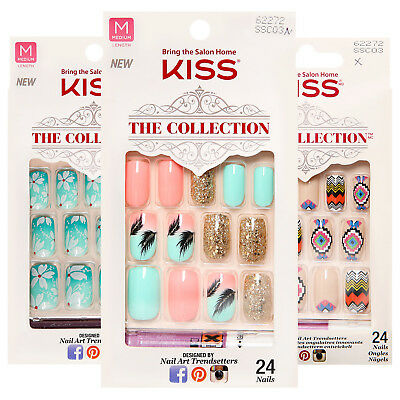 Kiss The Collection Medium Length Glue on Nail Kit - With Glue - Assorted Styles