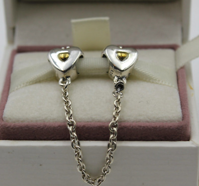 New Authentic Genuine Pandora Gold Silver Heart & Crown Safety Chain s925 Ale
