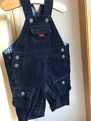 JoJo Maman Bebe 3-6 Months Navy Blue Cord Dungarees Perfect Condition