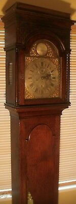 Antique  8 Day  Oak Brass Arched Dial  Longcase / Grandfather Clock
