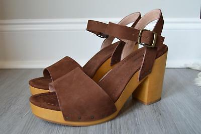 68e932e5ec7e Madewell  158 The Jo Sandal in Suede 10 Brown Wood Clogs F1687 Heels Shoes  NEW