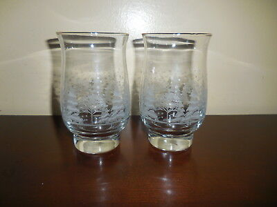 2 Libby Christmas Winter White Frosted /Etched Tumblers Glasses Arby's
