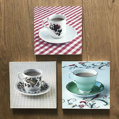 3 VINTAGE BRITISH TEACUP MINI WALL HANGINGS Pictures Wooden Modern Art Midwinter
