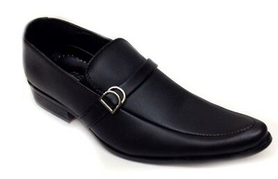 New Mens Italian Smart Pointy Black Slip On Shoes Wedding Office Formal Party