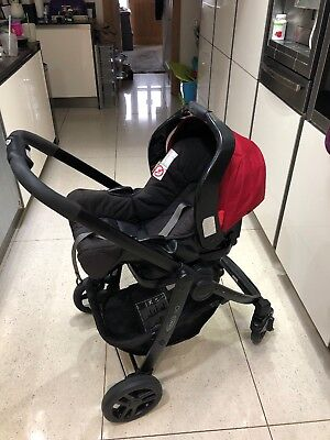 Red Graco Evo Travel System, Car Seat, Carry Cot & Stroller - Brentwood