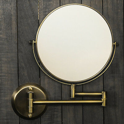 """Hotel Quality BRASS 8"""" Wall Mount Swing Arm 2-Sided Magnifying Mirror 1 & 7X"""