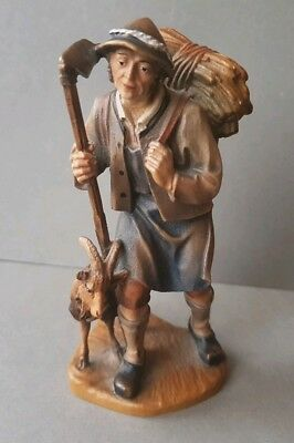 TOP QUALITY VINTAGE BLACK FOREST HAND CARVED & PAINTED WOODEN FIGURE of SHEPHERD