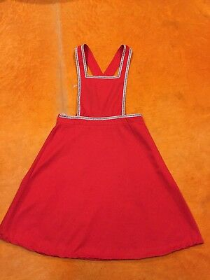 Womens Girls Vintage 60s 70s Bright Red Bib & Brace Overalls Dungaree Dress XS-S