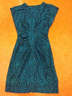 Womens Vintage 80s S-M MILANZO Stretchy Teal Black Spot Punk Fitted Wiggle Dress