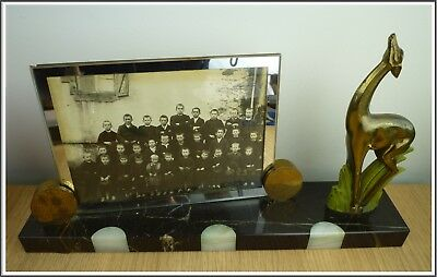 Large French Art Deco Marble Photo Frame Deer & an original School Class picture