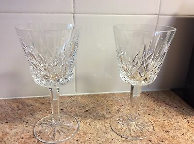 Two Waterford Crystal Goblet, Lismore Pattern, 4 Ounce Claret Wine Goblet, Mint