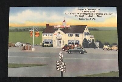 Old 30 Pennsylvania Turnpike~1940s Snyder's Gateway Inn Postcard~Breezewood, PA
