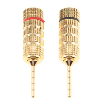 2x 2mm Banana Plug Pin Audio Speaker Cable Connector Screw Lock Gold Plated