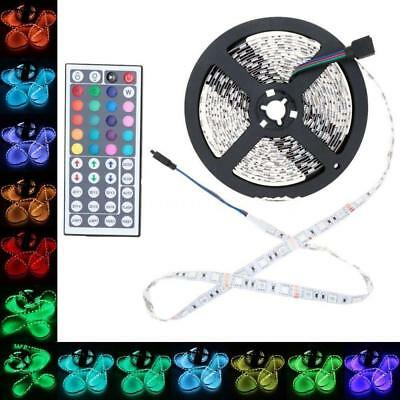 1x 5M 5050 RGB 300 SMD Flexible LED Strip Light 44key Remote 12V Power Supply BG
