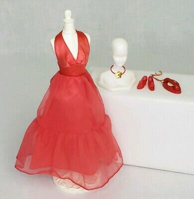 Vintage Barbie 1974 Sears Exclusive Red Gown Shoes Flower Choker Necklace HTF