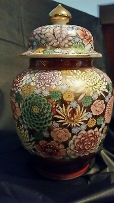 Vintage Japanese Kutani Meiji period Vase Thousand 1000 Flowers Ginger Jar