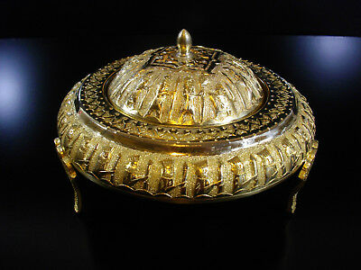 c64/ Vintage Middle Eastern, Qajar, Persian, Chased Gilded Brass Covered Dish