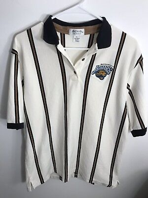 8a8dda4160f Womens Vintage Antigua NFL Jacksonville Jaguars Striped Golf Shirt Size  Large